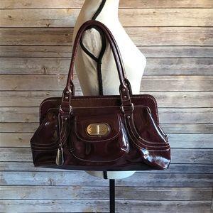 Franco Sarto Burgundy Patent Leather Carpet Bag